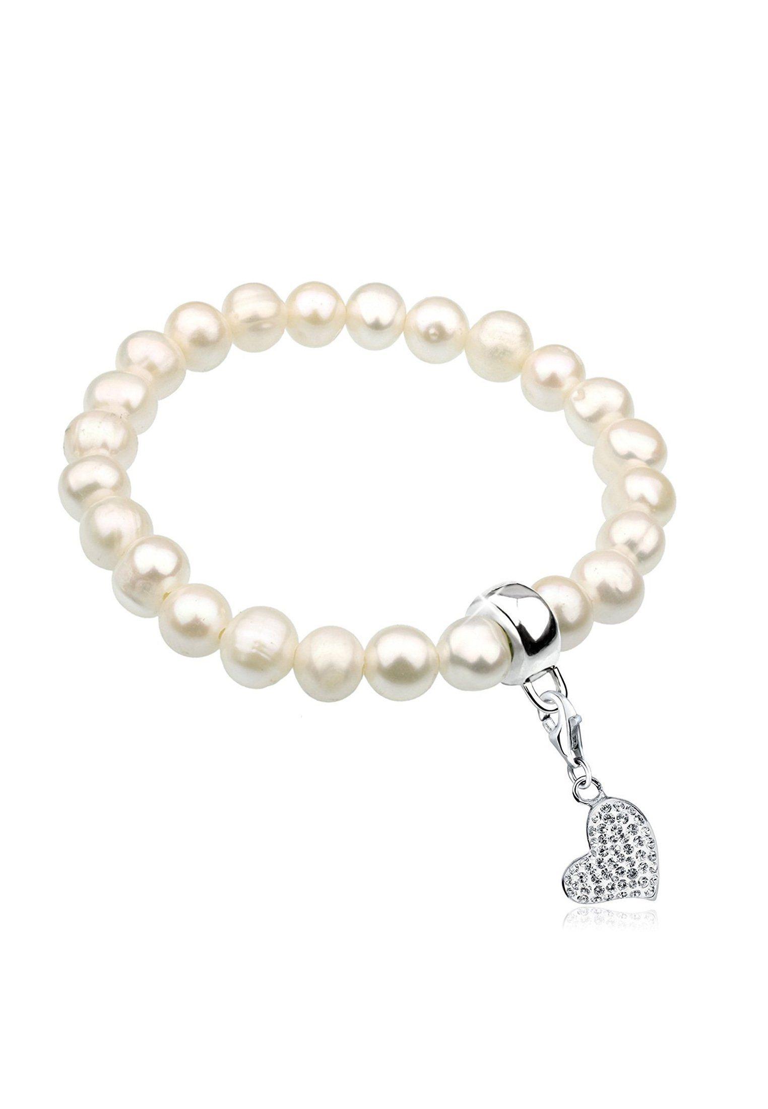 Nenalina Perlenarmband »Herz Symbol Perlen Swarovski® Kristalle 925 Silber«