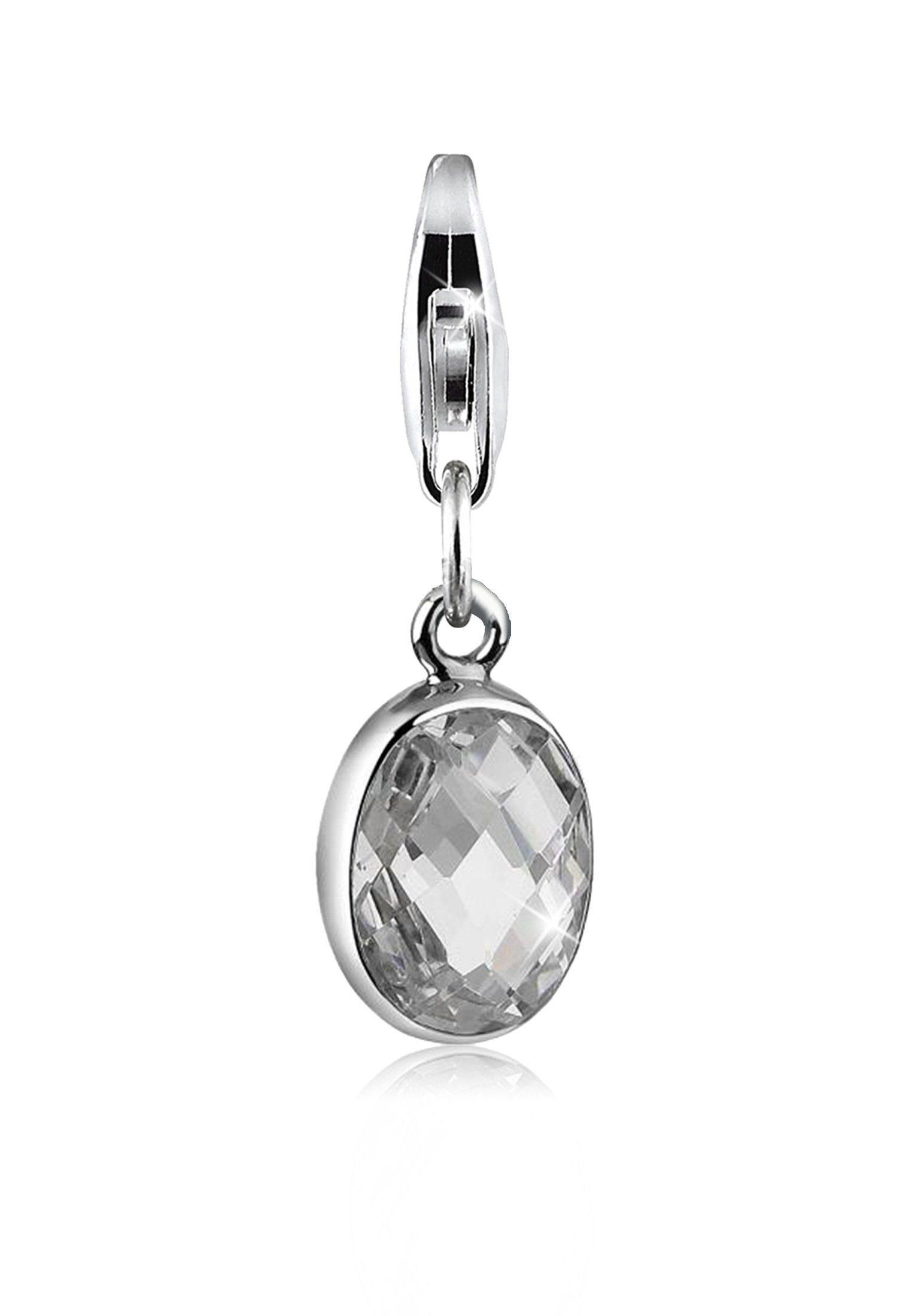 Nenalina Charm-Einhänger »Zirkonia Oval Klassisch 925 Sterling Silber«