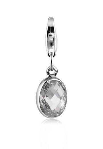 Nenalina Charm-Einhänger »Zirkonia Oval Anhänger Klassisch 925 Silber«