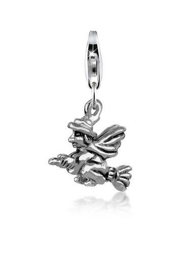 Nenalina Charm-Einhänger »Hexen-Anhänger Halloween Besen oxidiert 925 Silber«