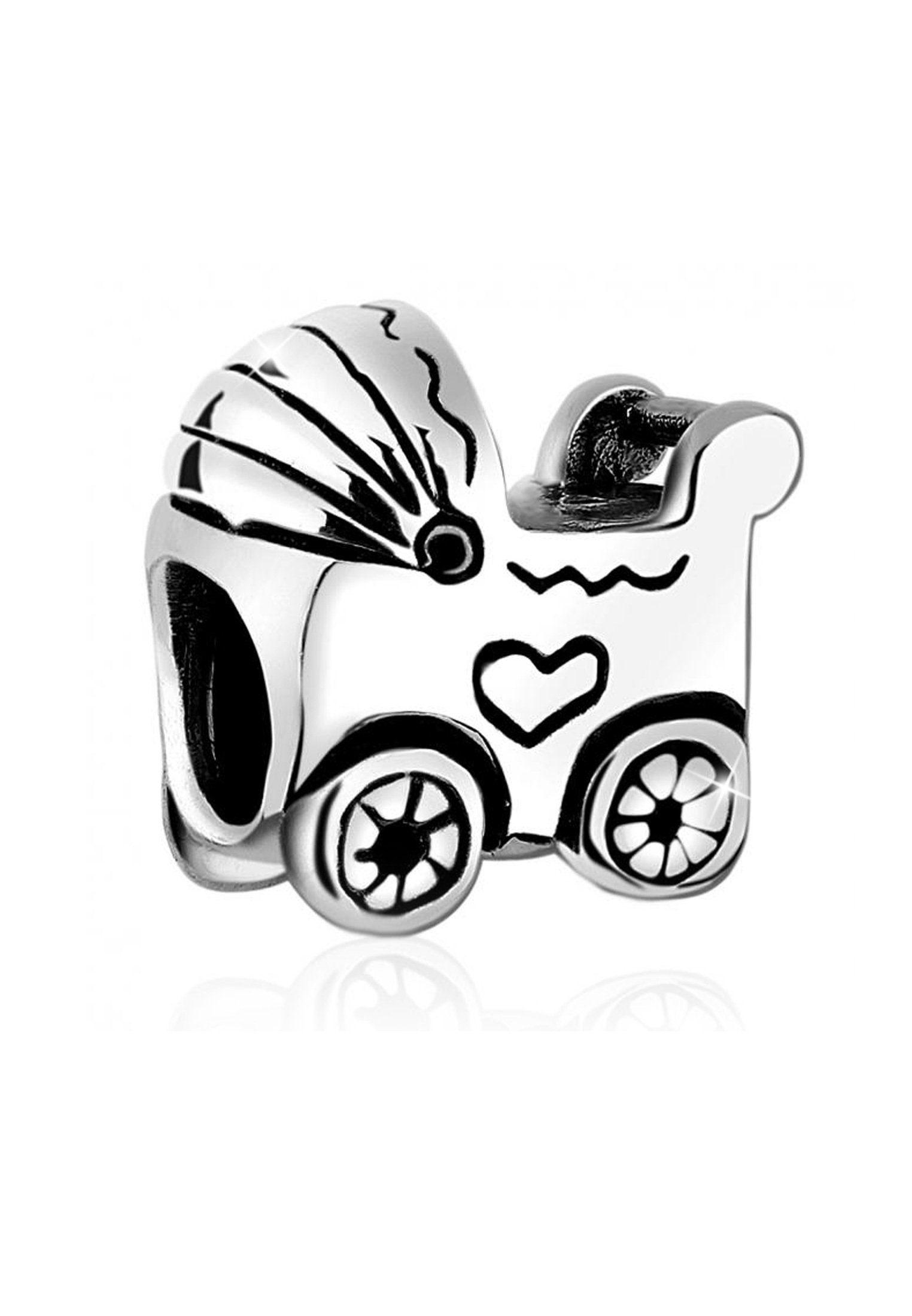 Nenalina Charm-Einhänger »Kinderwagen Bead Anhänger Baby Geburt 925er Silber«