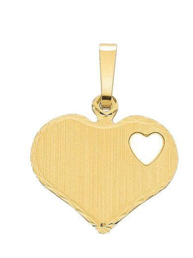 Adelia´s Kettenanhänger »Gold 14 k (585) Gravurplatte«, 14 k 585 Gelbgold