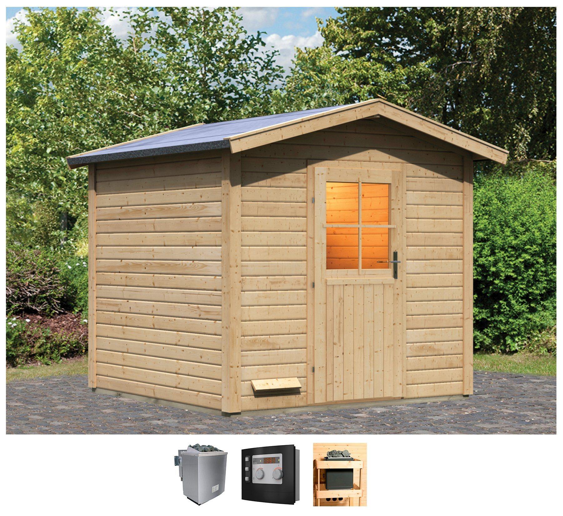 KONIFERA Saunahaus »Bosse 2«, BxTxH: 231x231x239 cm, 9 kW Bio-Kombiofen mit ext. Steuerung | Baumarkt > Bad und Sanitär > Sauna und Zubehör | Karibu