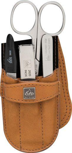 ERBE Maniküre-Etui »Taschenetui mit Steckverschluss aus echtem Leder«, 4 tlg., bestückt mit Solinger Premium Stahlwaren in Edelstahl