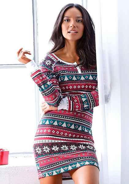 Gemustert Weihnachtlichem Muster Lascana Nachthemd Allover Mit orCWxeBd