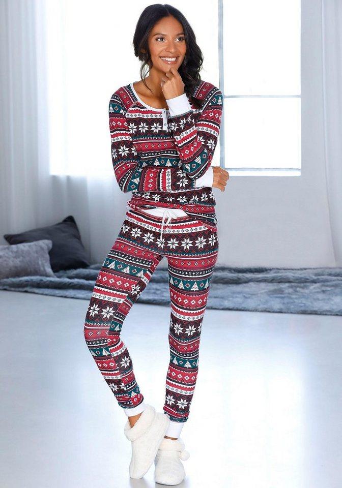 3e5aa2744b LASCANA Pyjama, mit weihnachtlichem Muster kaufen   OTTO