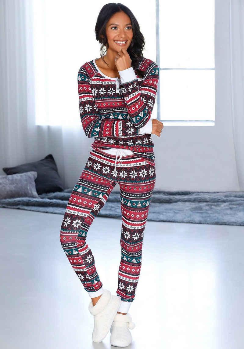 LASCANA Pyjama mit weihnachtlichem Muster