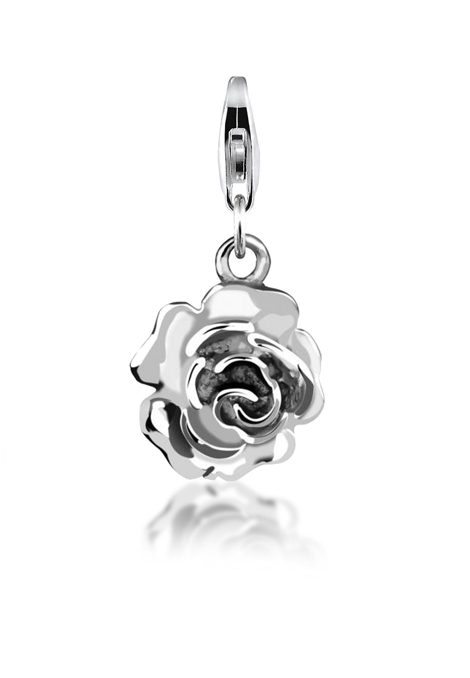 Nenalina Charm-Einhänger »Anhänger Rose Blume Floral 925 Sterling Silber«