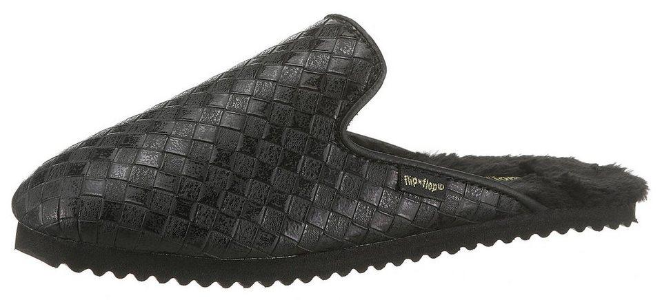 flip flop »slipper braided« pantoffel im schönen metallic-look