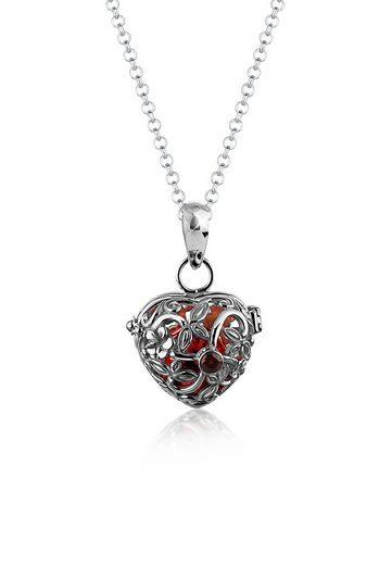Nenalina Kette mit Anhänger »Herz Klangkugel Granat Klein 925 Silber«