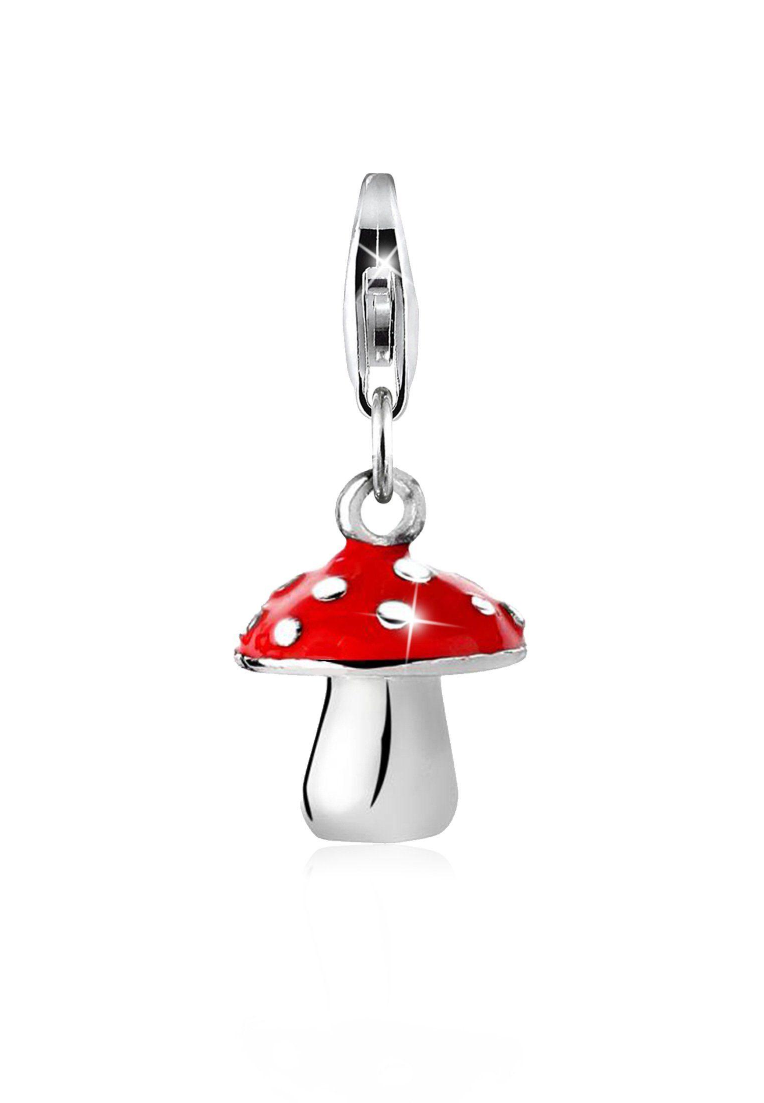 Nenalina Charm-Einhänger »Fliegenpilz Emaille 925 Sterling Silber«