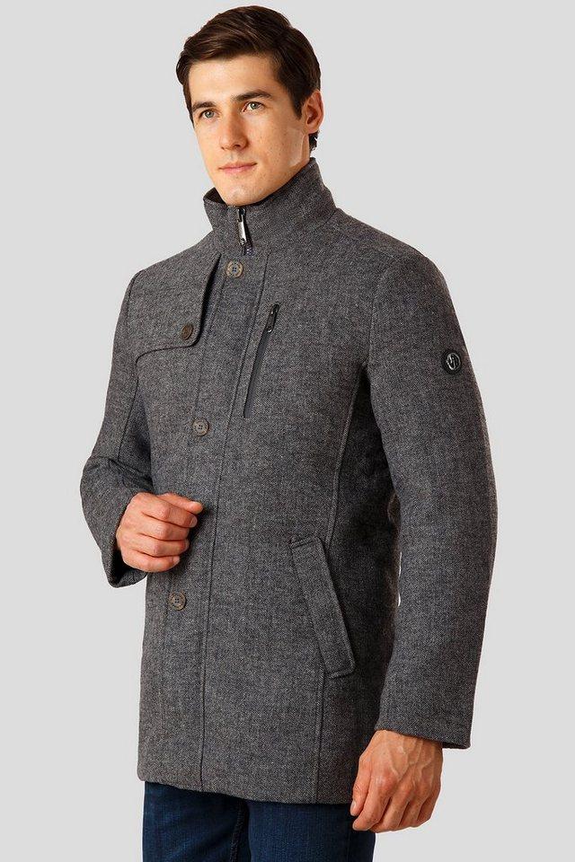Herren Finn Flare Wollmantel mit leichter Wattierung und Druckknopfleiste grau | 06438157398857