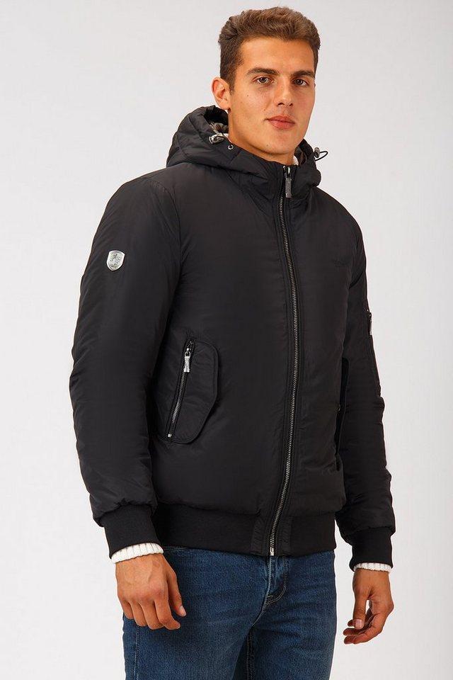 Herren Finn Flare Winterjacke mit warmer Wattierung schwarz | 06438157430694