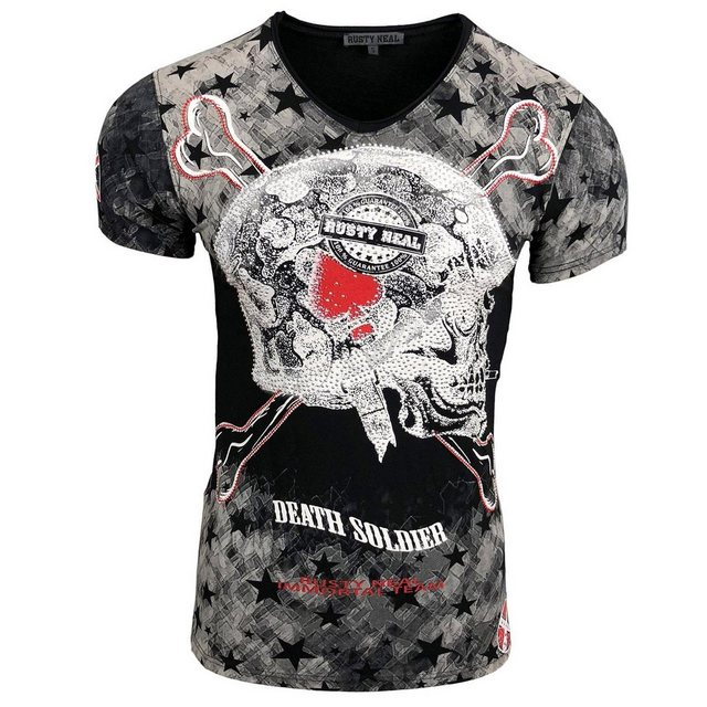 rusty neal -  Rundhals-Shirt mit auffälligem Totenkopf-Print