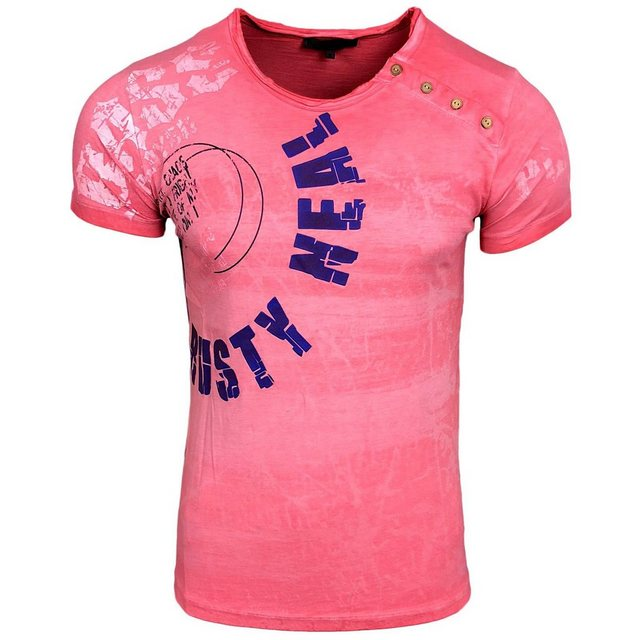 rusty neal -  Rundhals-Shirt mit Logoprint und Knopfleiste