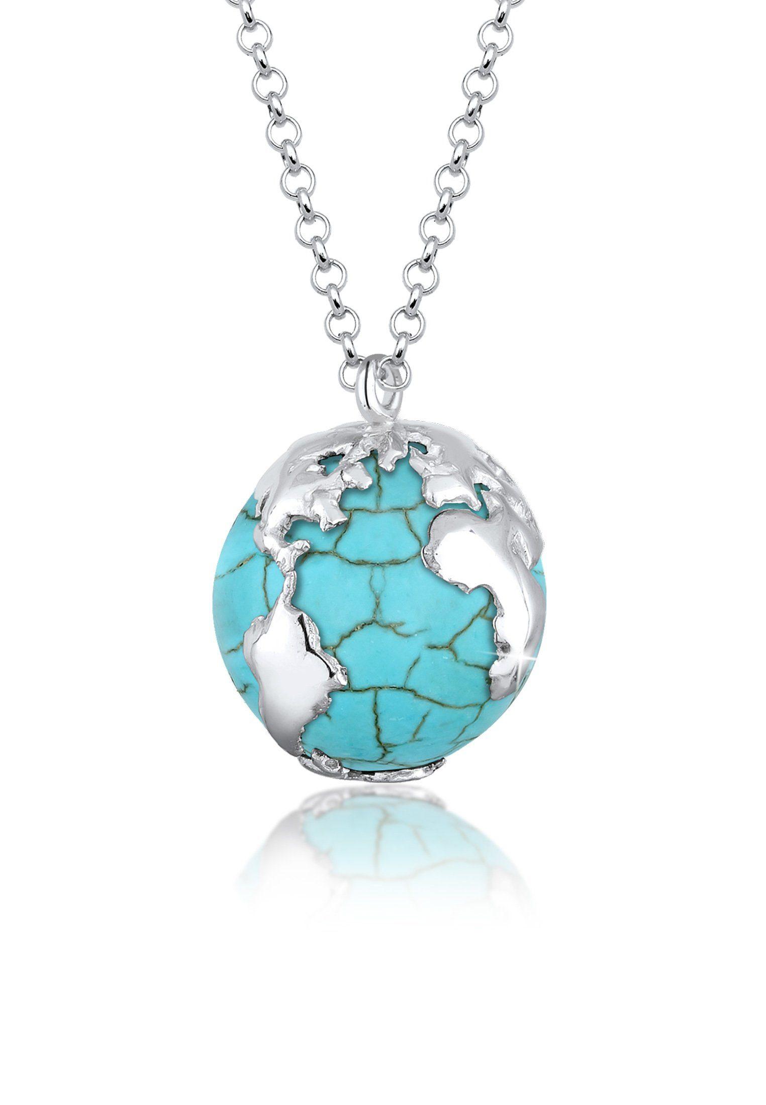 Elli Kette mit Anhänger »Erbskette Globus Weltkugel Howlith 925er Silber«