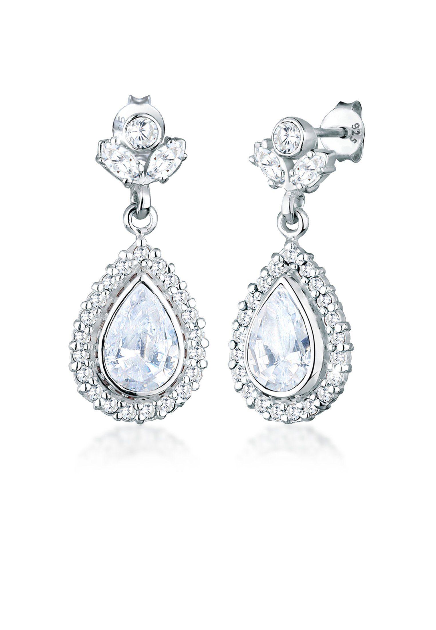 Elli Paar Ohrhänger »Tropfen Glamour Eleganz Zirkonia 925 Silber«