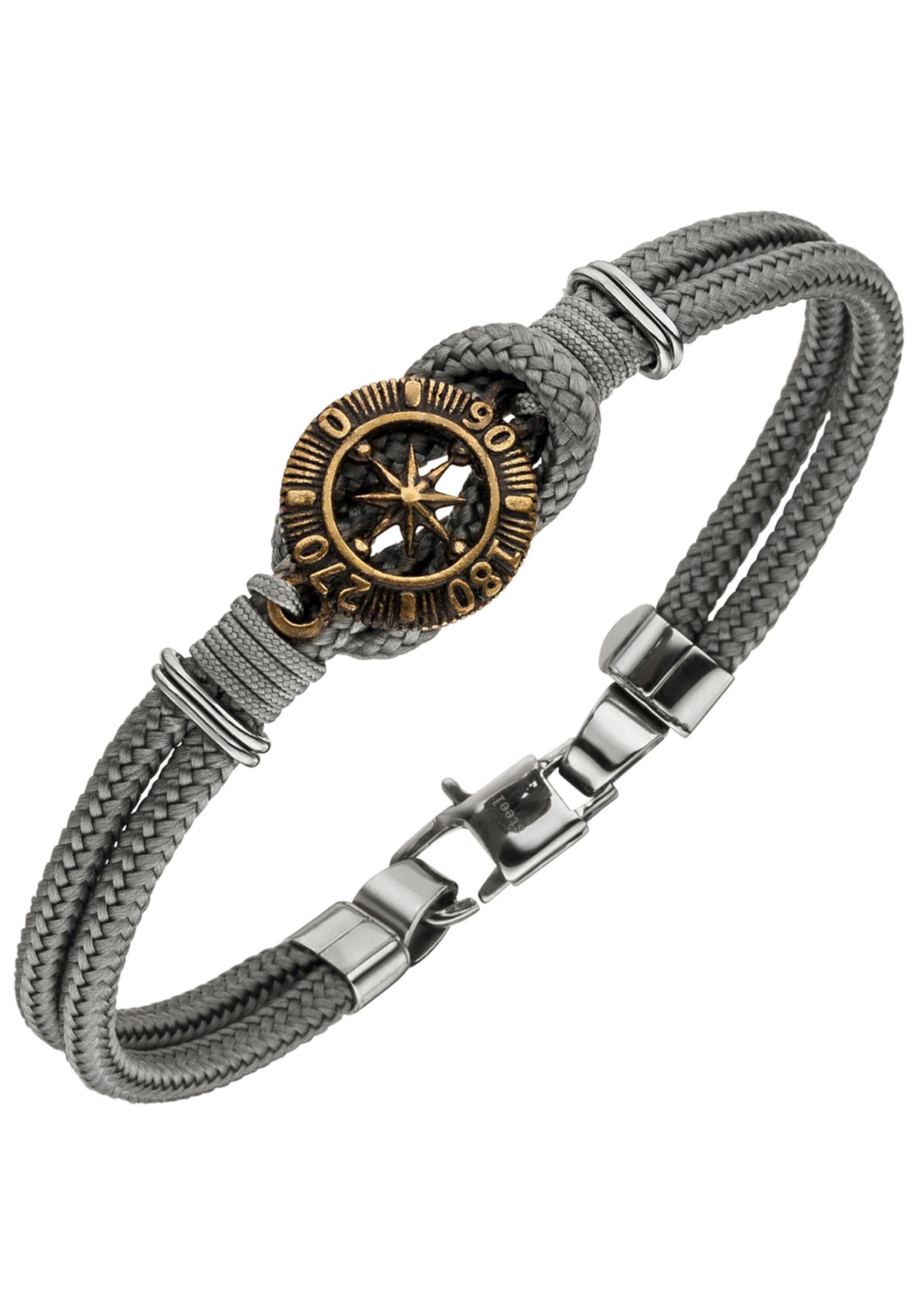 JOBO Armband »Kompass« Baumwolle mit Edelstahl 21 cm