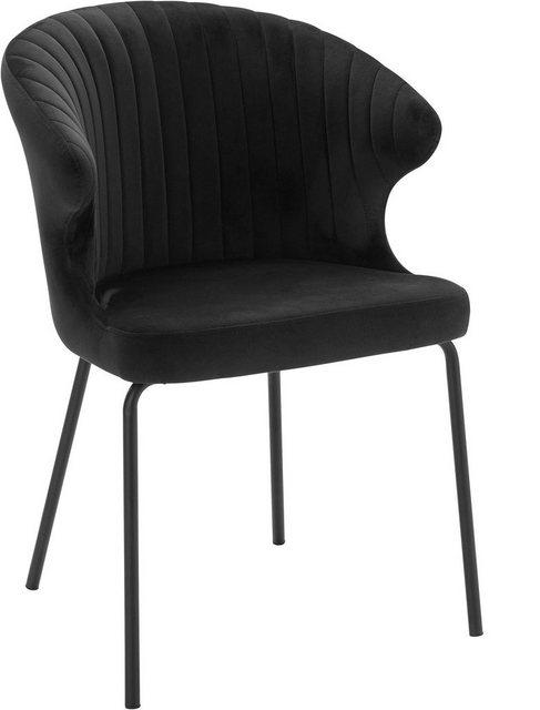 Stühle und Bänke - andas Stuhl »Mekong« mit schönem Metallgestell und feinem, gemütlichen Velvetbezug, Sitzhöhe 48 cm  - Onlineshop OTTO