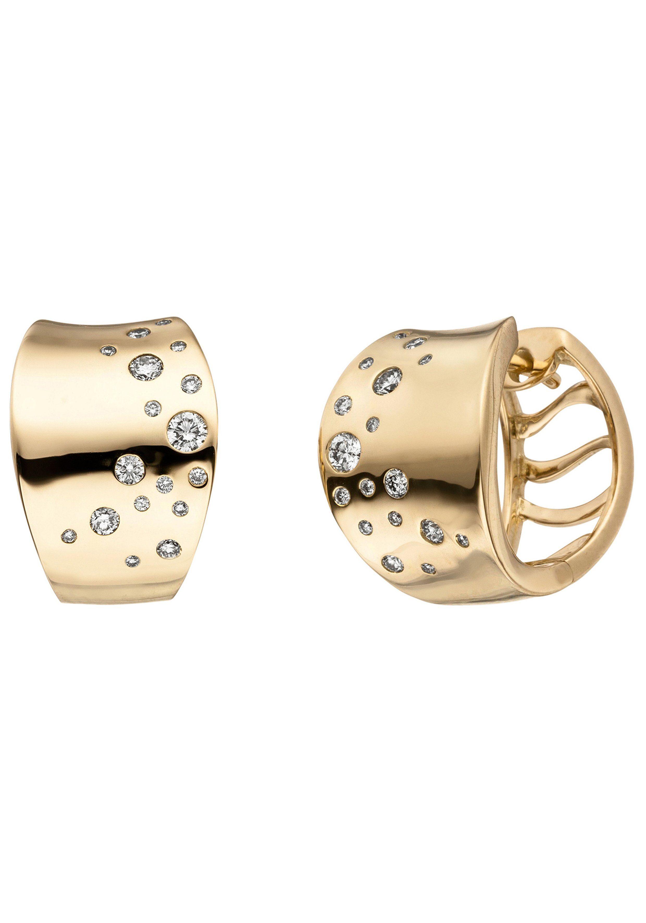 JOBO Paar Creolen 585 Gold mit 34 Diamanten
