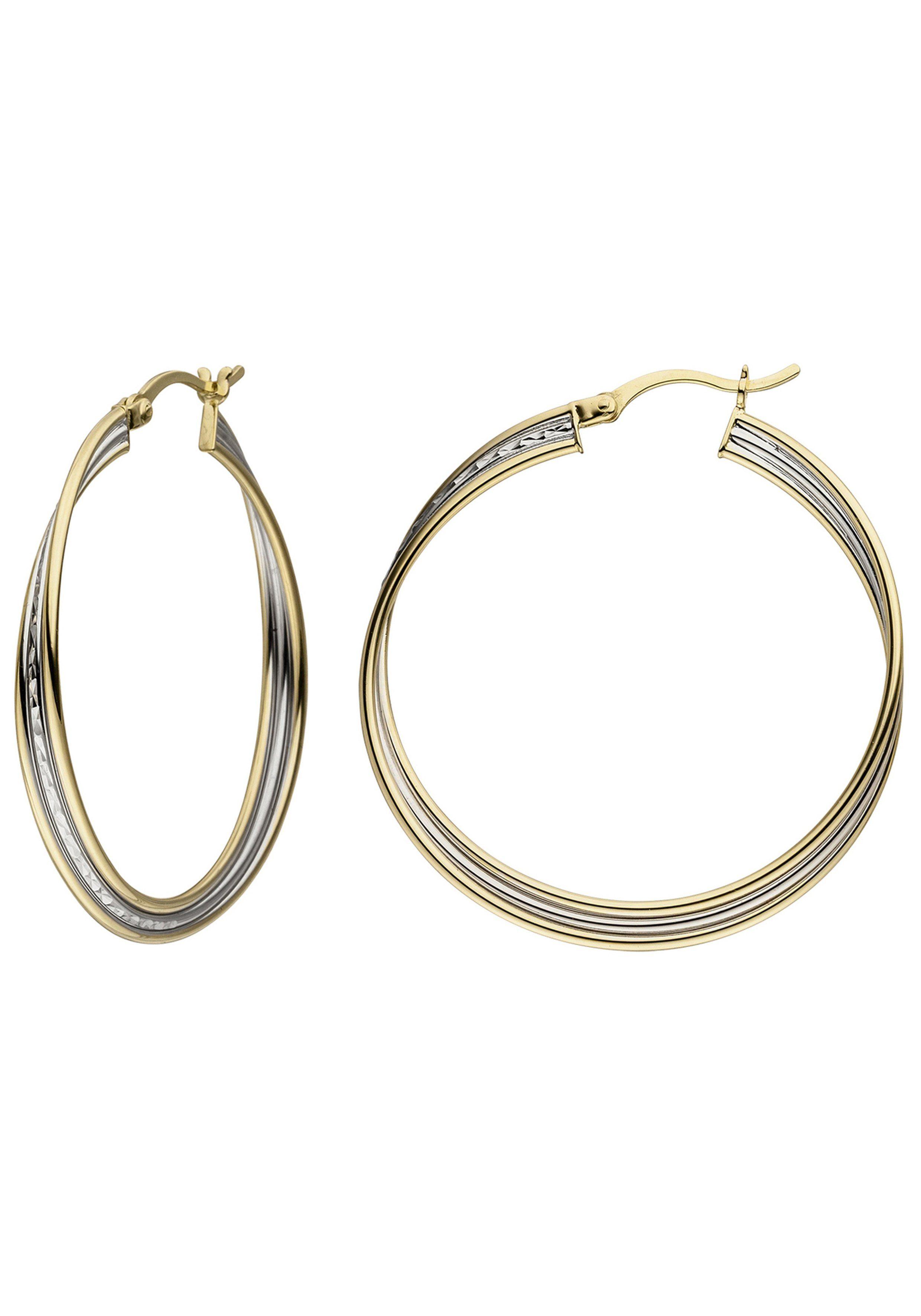 JOBO Paar Creolen 925 Silber bicolor vergoldet