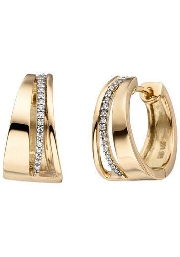 JOBO Paar Creolen, 585 Gold bicolor mit 34 Diamanten
