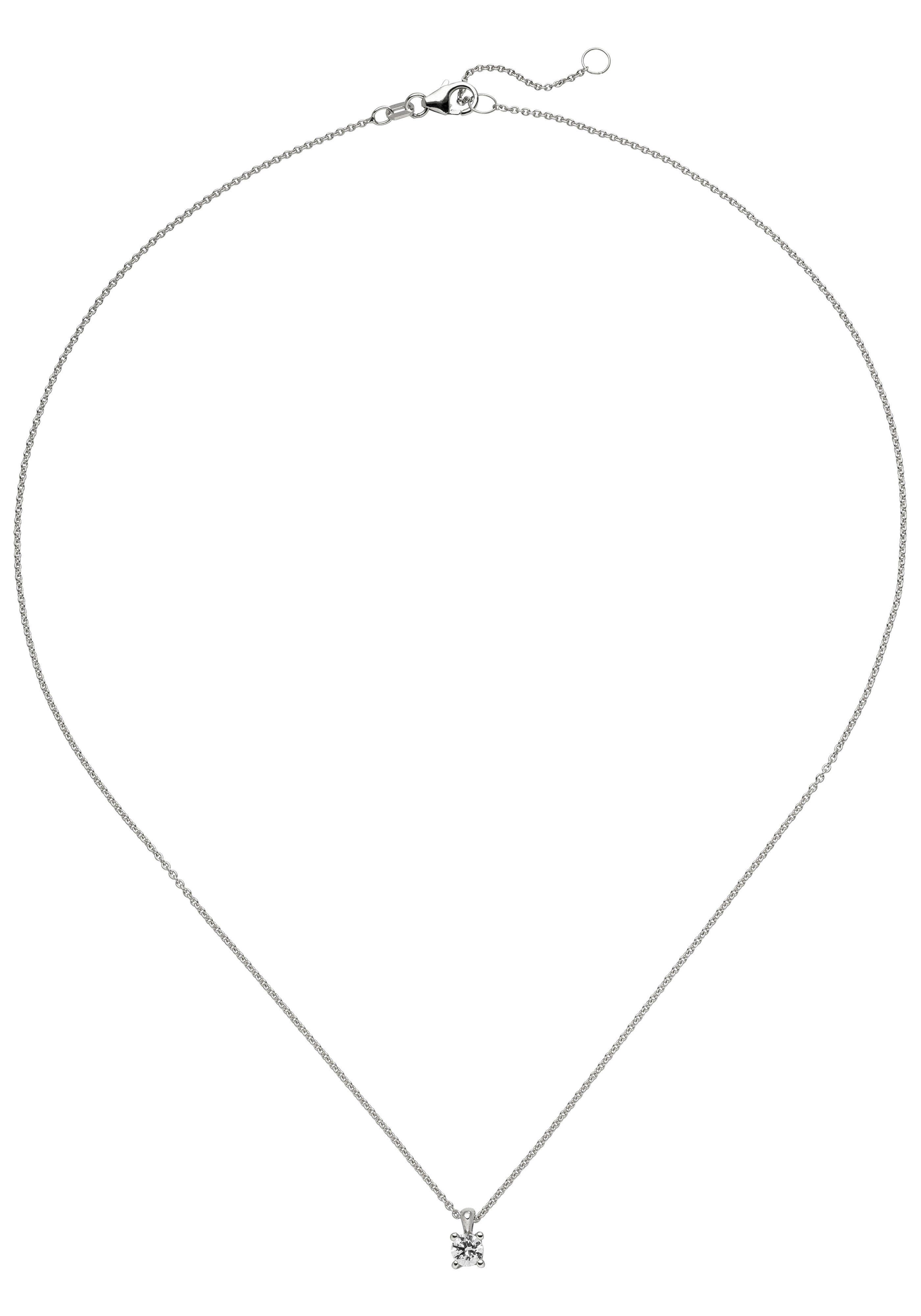 JOBO Kette mit Anhänger »Solitär« 585 Weißgold mit 1 Diamant Brillant 0,15 ct. 45 cm