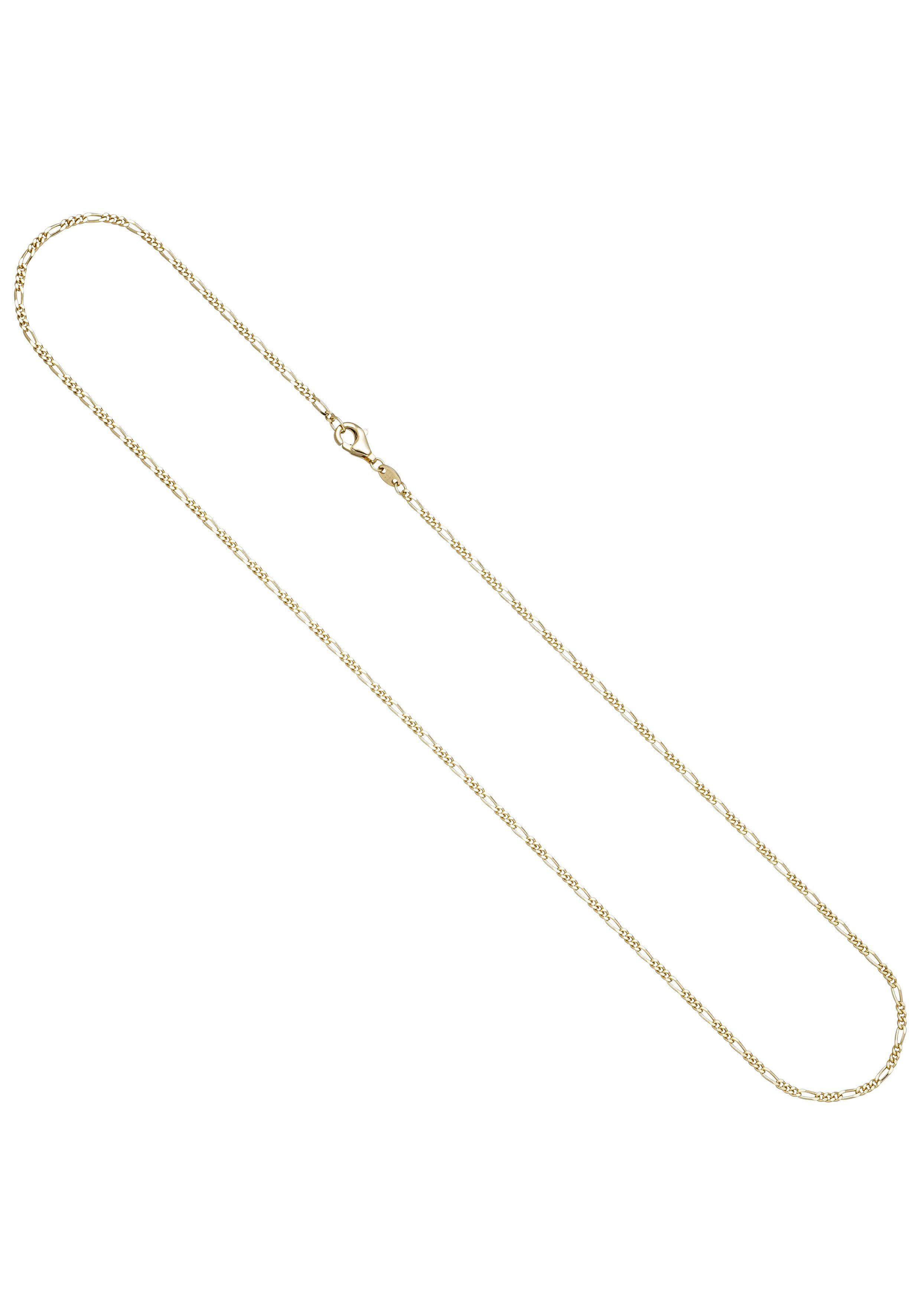 JOBO Goldkette Figarokette 585 Gold diamantiert 1,7 mm 45 cm