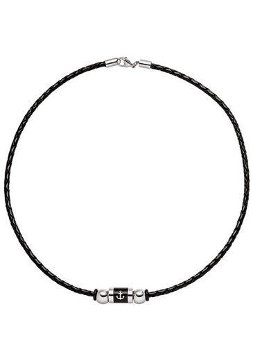 JOBO Lederband »Anker«, Leder und Edelstahl schwarz beschichtet 45 cm
