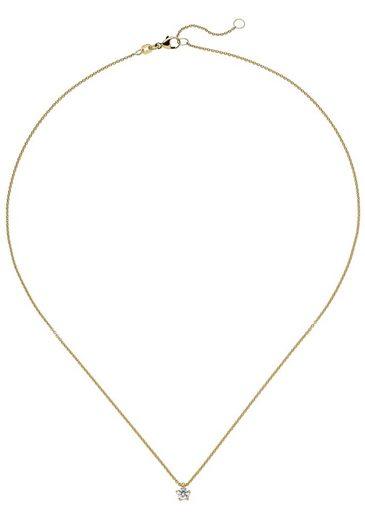 JOBO Kette mit Anhänger »Solitär« 585 Gold mit 1 Diamant Brillant 0,25 ct. 45 cm