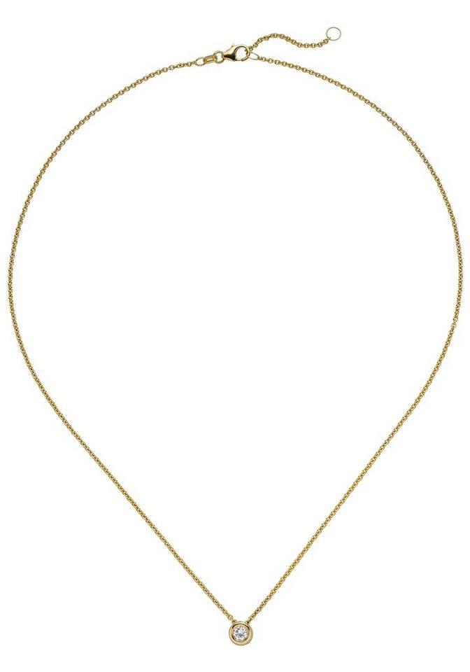 JOBO Kette mit Anhänger »Solitär« 585 Gold mit 1 Diamant Brillant 0,15 ct. 45 cm   Schmuck > Halsketten > Goldketten   Goldfarben   Si   JOBO