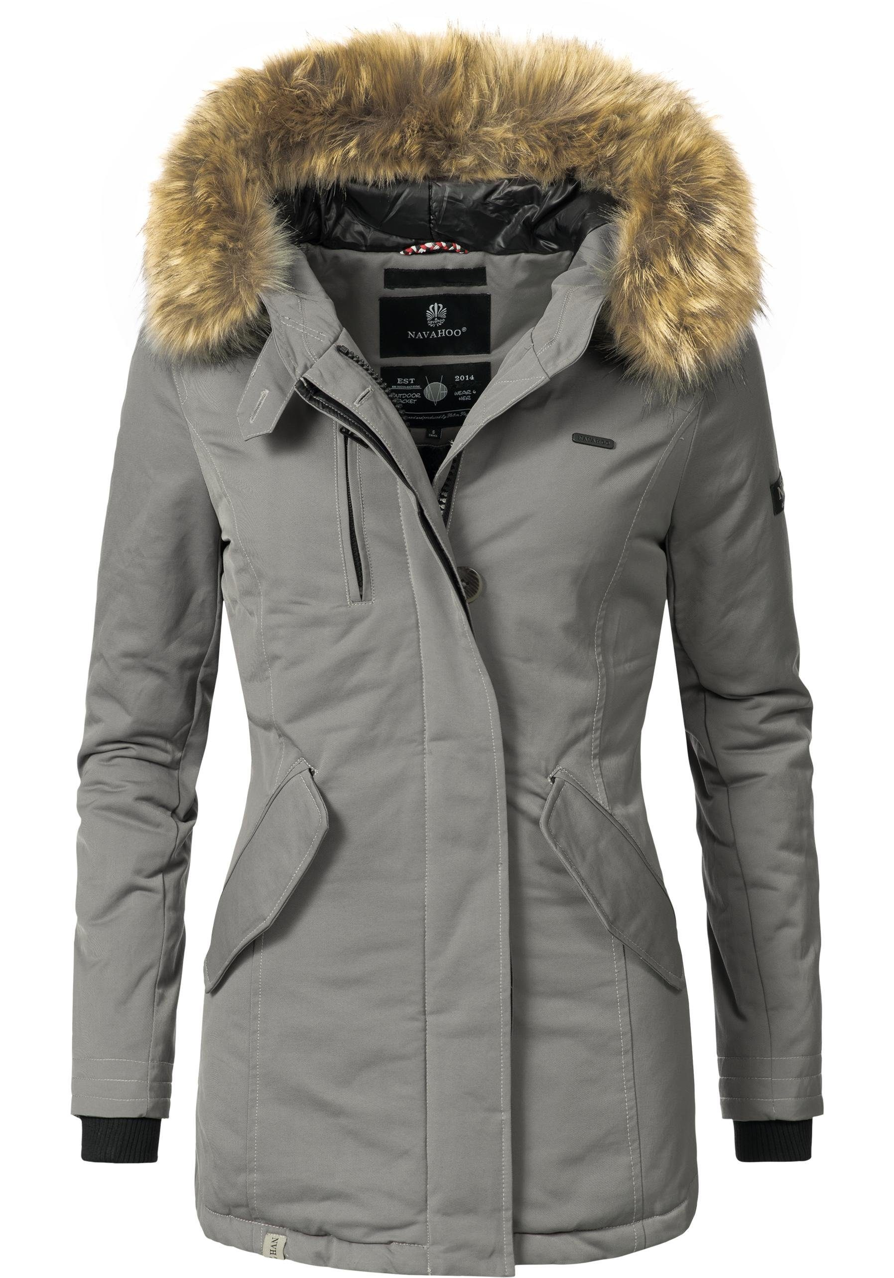 Edle Damen Winterjacke in Wildleder Optik mit Kunstfell, 109