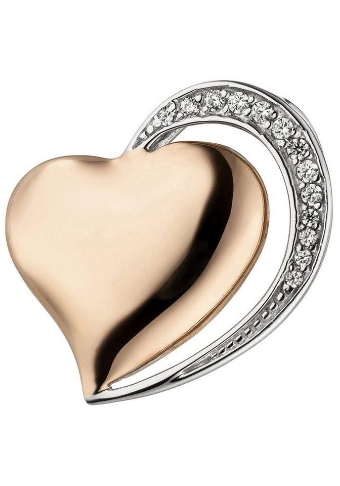 JOBO Herzanhänger »Herz« 925 Silber bicolor vergoldet mit 13 Zirkonia   Schmuck > Halsketten   Goldfarben   JOBO