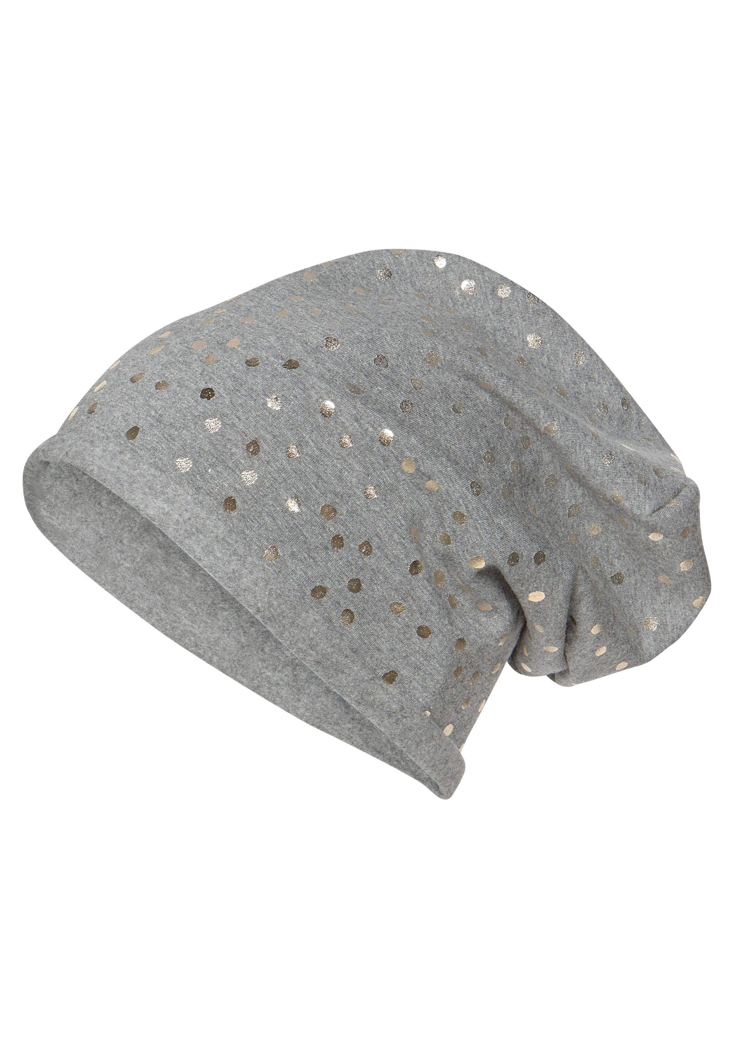 J.Jayz Beanie Jesrey Mütze mit Folien Print, Metallic Look