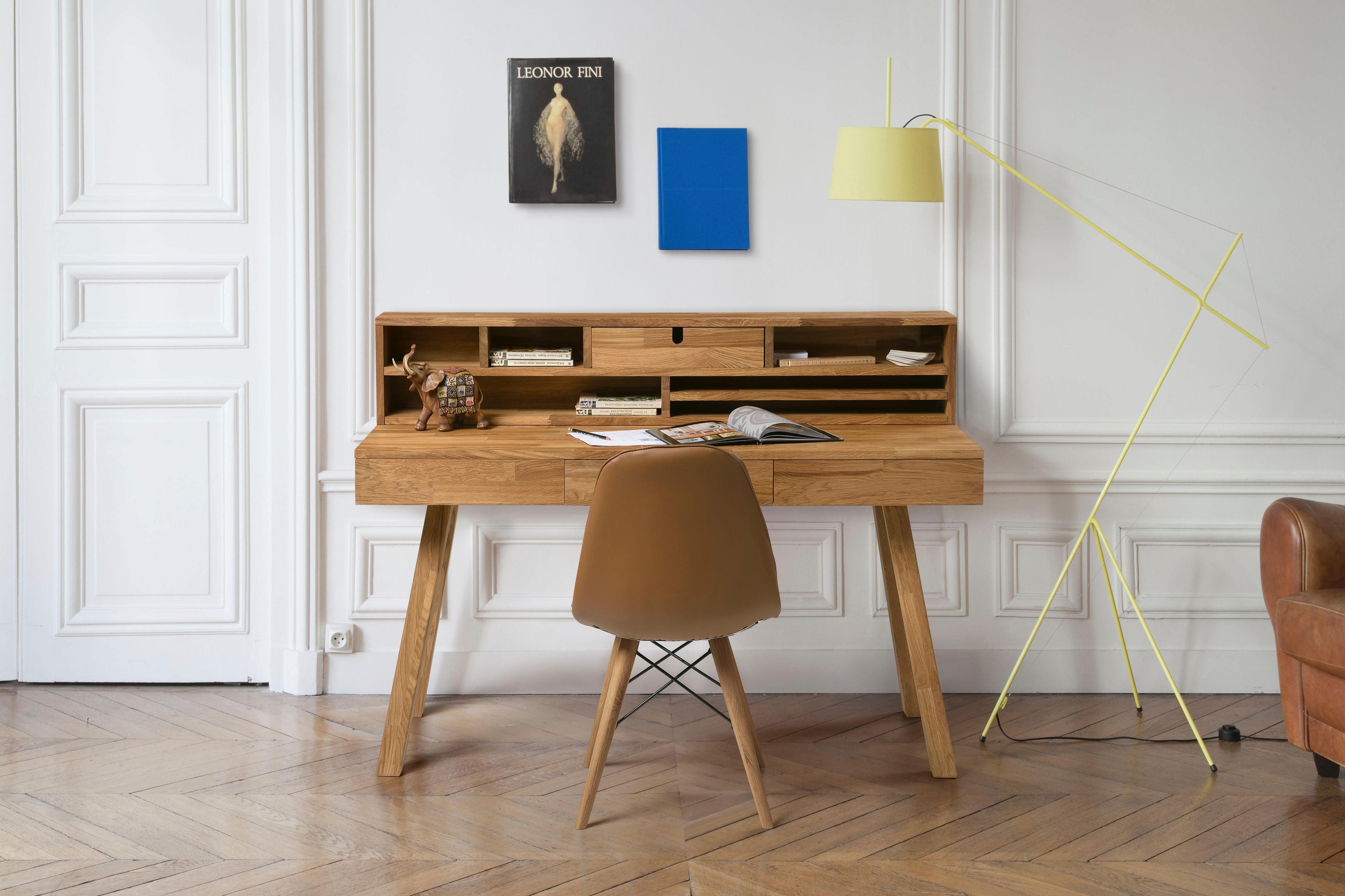 Home affaire Sekretär »Ohu« aus massivem Eichenholz und viel Stauraummöglichkeiten, Breite 140 cm