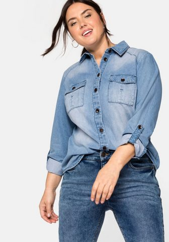 Sheego Jeansbluse su Pattentaschen in lengvas...