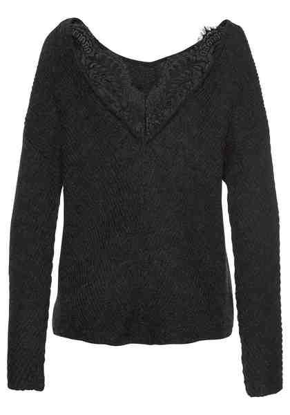 Vero Moda V-Ausschnitt-Pullover »BUENA LENA« mit Spitze am Rücken