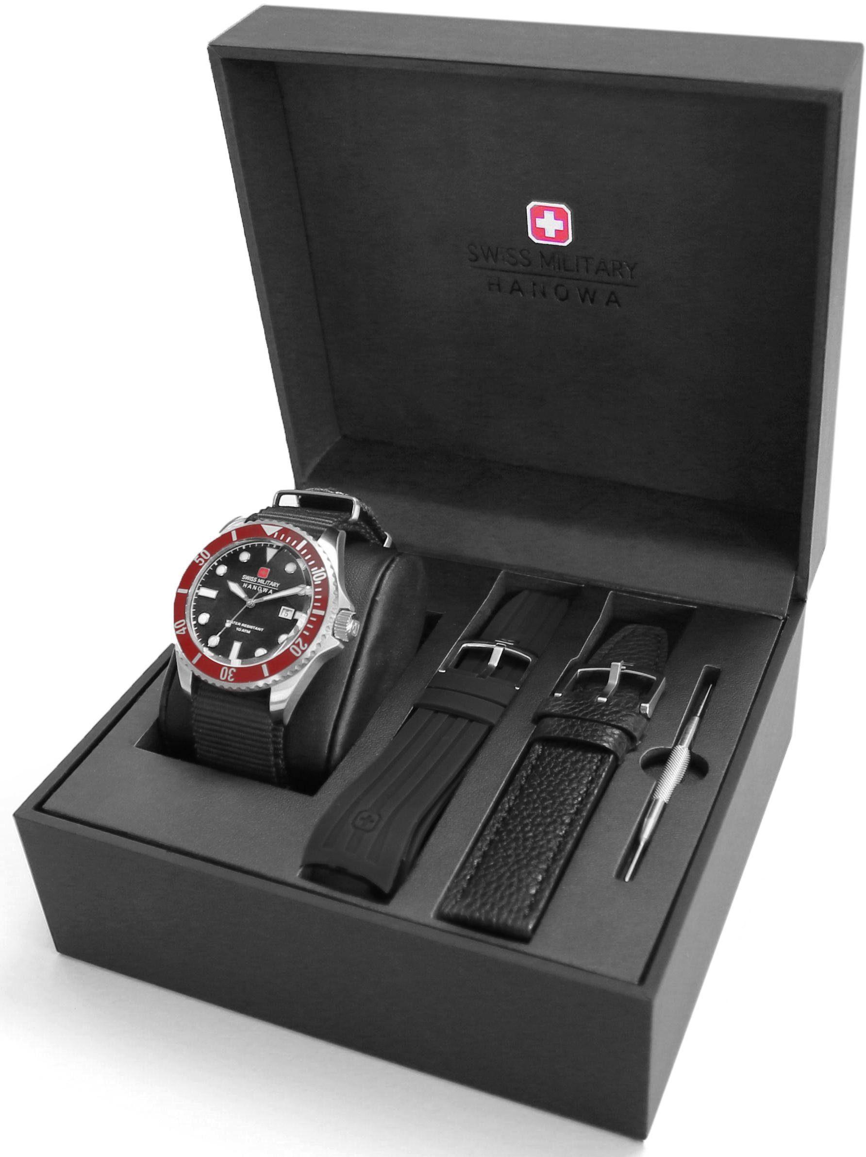 Swiss Military Hanowa Schweizer Uhr »SEA LION SET, 06-8279.04.007.04SET« (Set, 4 tlg., mit 2 Wechselbändern und Werkzeug)