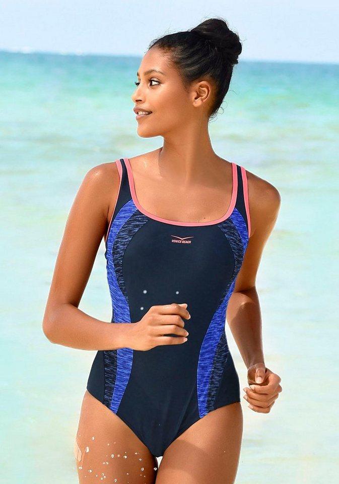 Bademode - Venice Beach Badeanzug, mit Einsätzen in Melange Optik › blau  - Onlineshop OTTO