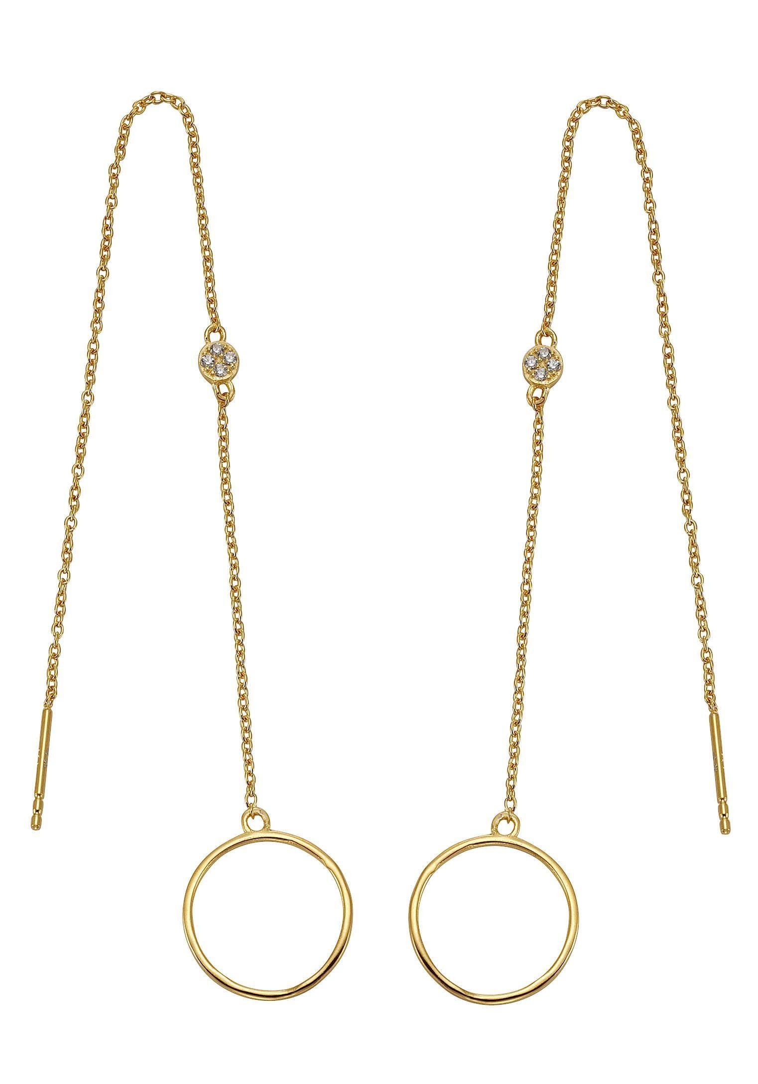 Firetti Paar Ohrhänger mit Zirkonia, rund
