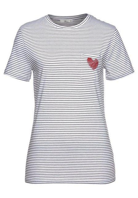 Damen LTB T-Shirt TEYELOF mit Streifen & Herz-Stickerei weiß | 08681521281042