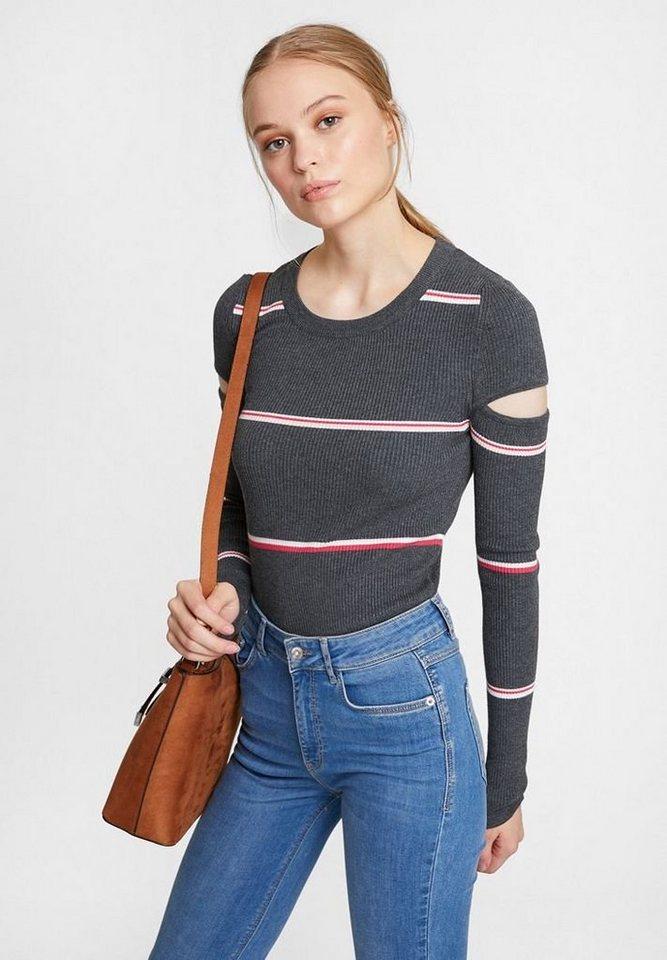 OXXO Rundhalspullover Gerippter Pullover mit Streifen und Cut Out Detail