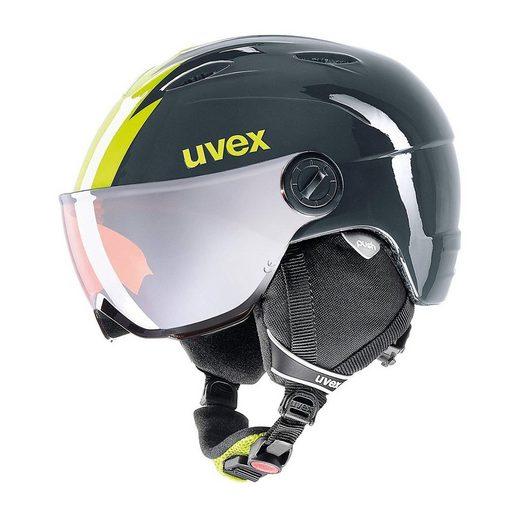 Uvex Skihelm junior Visor pro titanium-lime 54-56