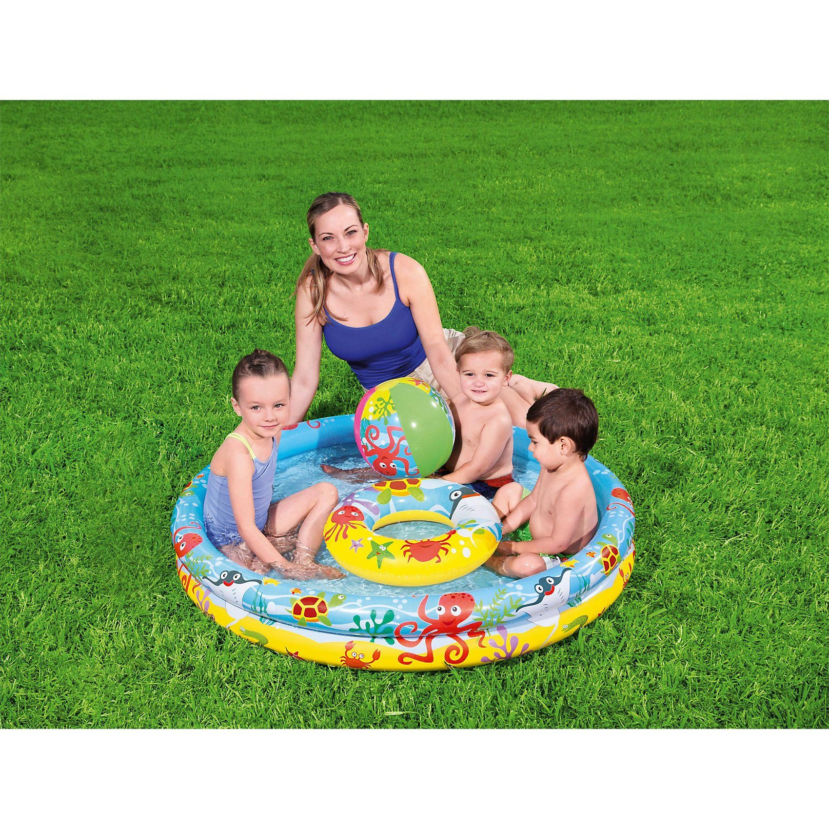 Bestway Play Pool Set 3-teilig 122x20 cm, Planschbecken Set