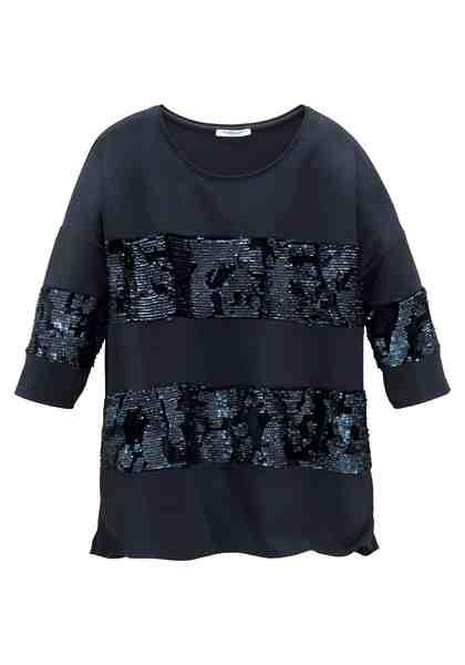 GMK Curvy Collection Langarmshirt mit Pailletten-Besatz