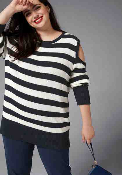 GMK Curvy Collection Streifenpullover mit Cut-Out an den Schultern
