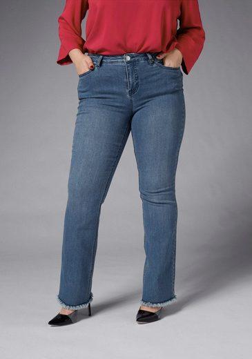 GMK Curvy Collection Bootcut-Jeans mit Fransen