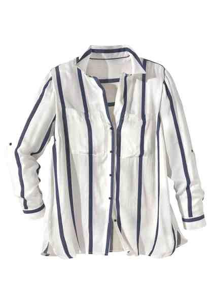 GMK Curvy Collection Druckbluse mit klassischem Hemdkragen