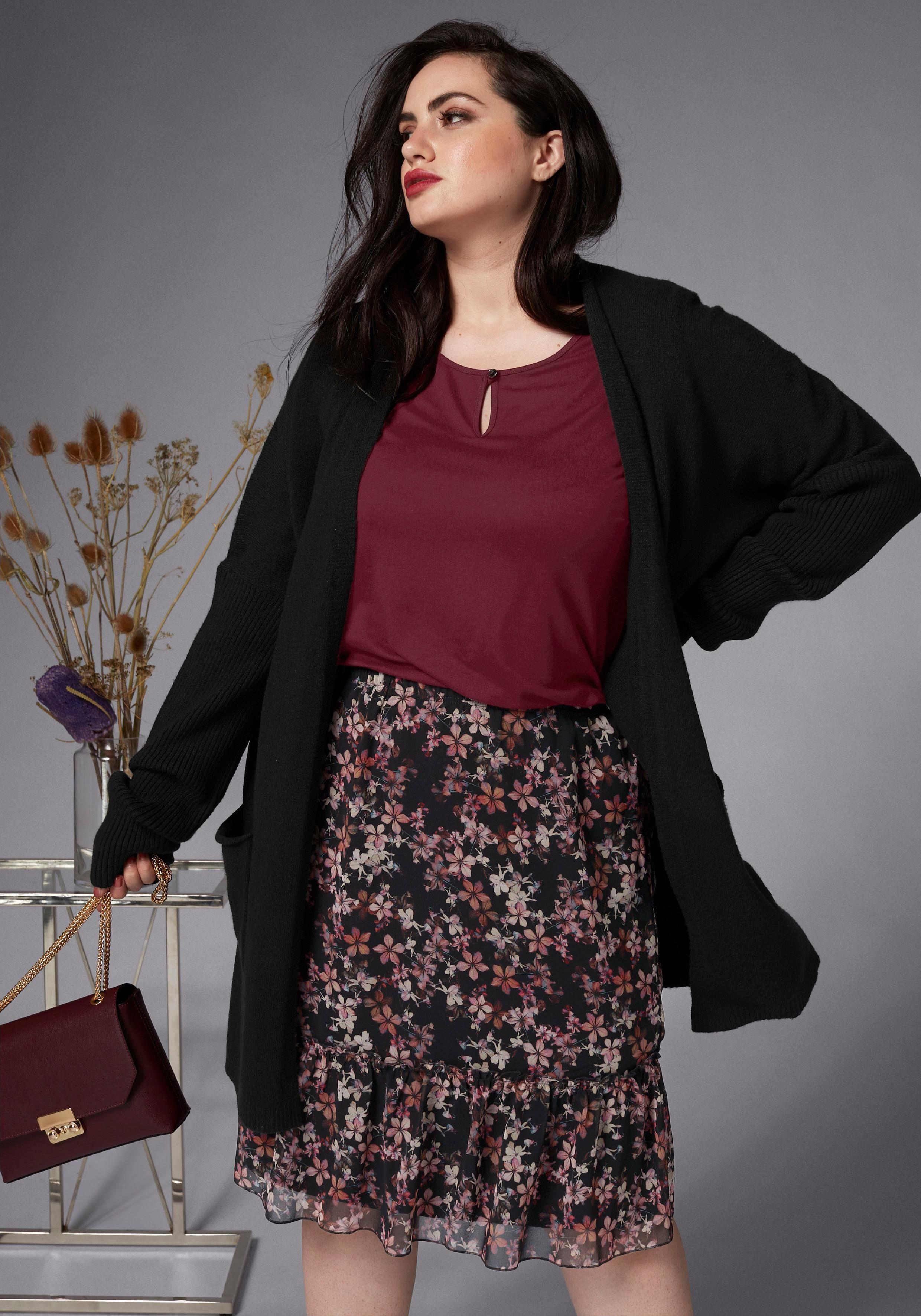 Gmk Curvy Collection Shirtbluse Mit Knoten Am Saum Beige-gestreift