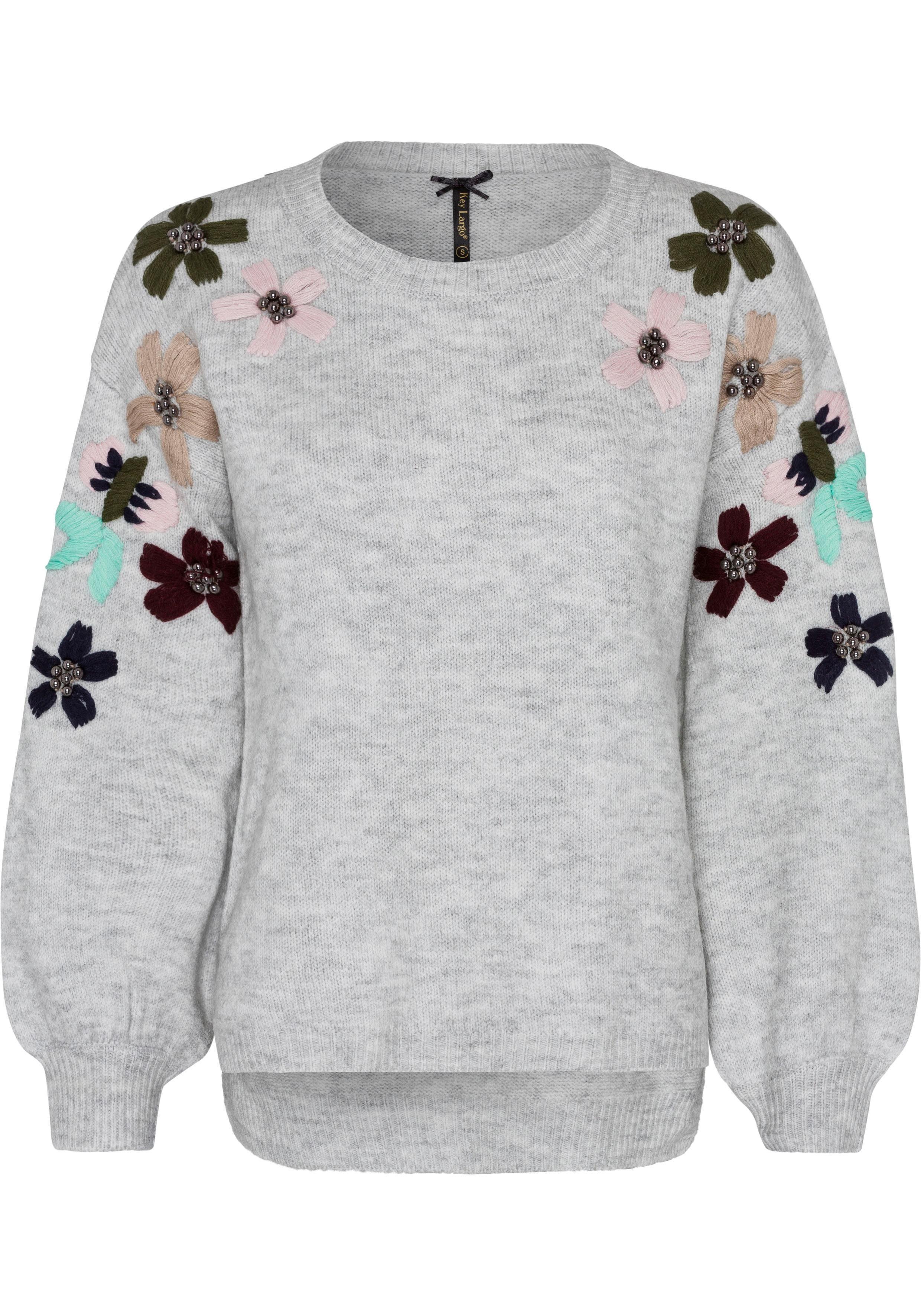 Key Largo Strickpullover »Bloom« mit Zierperlen und Stickereien